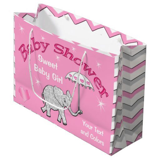 Personalized Girls Baby Shower Elephant Gift Bag Large ...