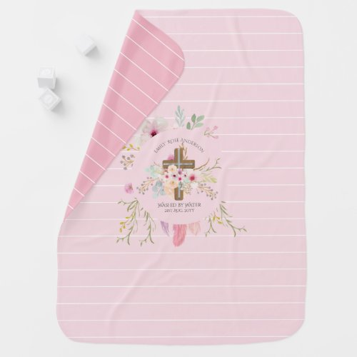 Personalized Girls BAPTISM - Pink Floral Cross Baby Blanket