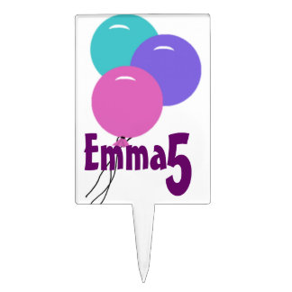 Personalized Girls Birthday Balloons Cake Topper