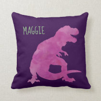Personalized Girls Dinosaur Purple Watercolor Throw Pillow