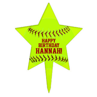 Personalized Girls Fastpitch Softball Cake Topper