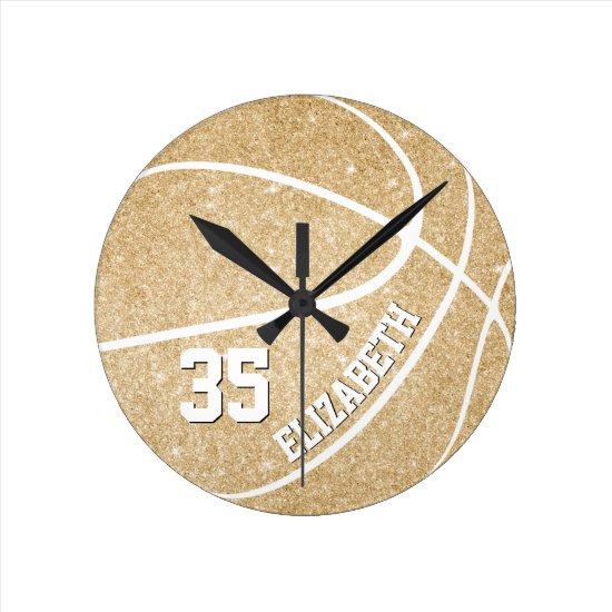 personalized girls golden basketball round clock