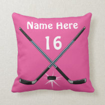 Personalized Girls Hockey Pillows her NAME, NUMBER