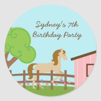 Personalized girls horse birthday party stickers