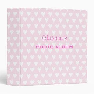 Personalized girls name C pink hearts photo album 3 Ring Binder