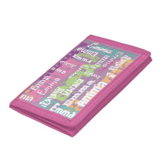 Personalized Girl's Name Pink Purple Tri-fold Wallet at Zazzle