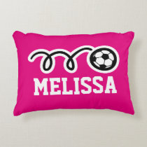 Personalized girls pillow with cute soccer ball
