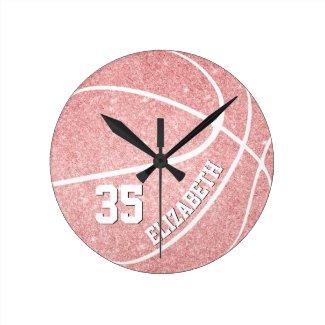 personalized girls pink basketball round clock