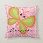 Personalized Girl's Pink Butterfly Pillow
