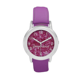 Personalized Girl's Pink Glitter-Look Wristwatches