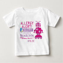 Personalized Girls Pink Robot Dairy Allergy Alert Baby T-Shirt
