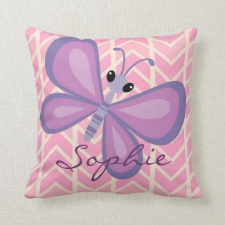 Personalized Girl's Purple Butterfly Pillow