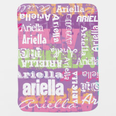 Personalized Girl's Purple Pink Subway Art Swaddle Blanket