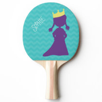 Personalized Girls Purple Princess Silhouette Teal Ping-Pong Paddle