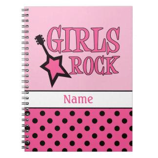 Personalized Girls Rock School Girly Pink Black Notebook