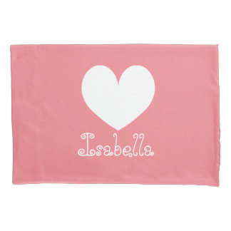 Personalized girls room coral heart pillowcase