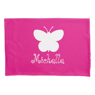Personalized girls room pillowcase with butterfly