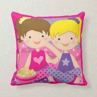 Personalized Girls Slumber Party Throw Pillow