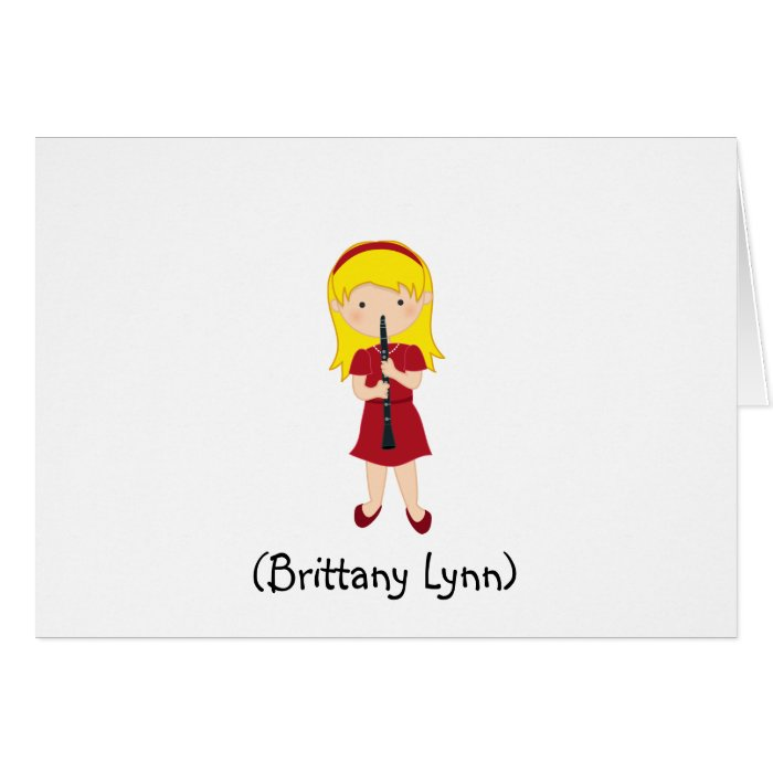 Personalized Girls Stationery-Kid Playing Clarinet Card