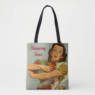 Personalized girly bag, retro style tote bag
