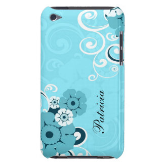 Personalized Girly Blue Swirls And Floral Pattern Case-Mate iPod Touch Case