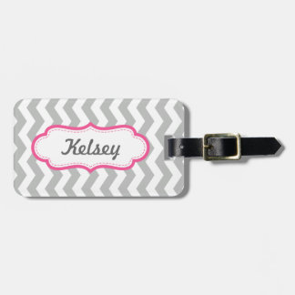 Personalized Girly Chevron Gray and Pink Stripes Bag Tag