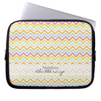 Personalized Girly Chevron Rainbow Modern Computer Sleeve