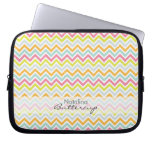 Personalized Girly Chevron Rainbow Modern Laptop Sleeve