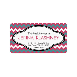 Personalized Girly Chevron Zig Zag Bookplate