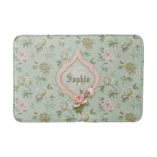 Personalized Girly Chic Green and Pink Floral Bathroom Mat