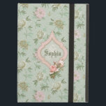 "Personalized Girly Chic Green and Pink Floral iPad Air Cover<br><div class=""desc"">Pretty cottage chic style floral design featuring pastel pink,  light green and off white flowers on a soft green background with pink framed label with pink rose embellishment. Room for your name and/or monogram.</div>"