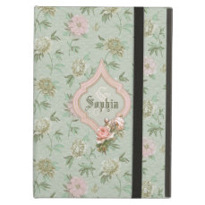 Personalized Girly Chic Green and Pink Floral iPad Air Cover