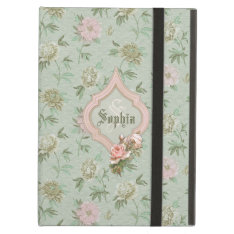 Personalized Girly Chic Green And Pink Floral Ipad Air Cover at Zazzle
