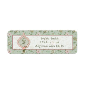 Personalized Girly Chic Green and Pink Floral Label
