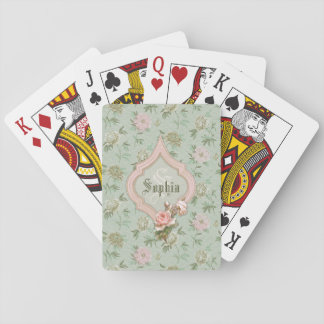 Personalized Girly Chic Green and Pink Floral Playing Cards