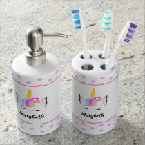 Personalized Girly Chic Magical Unicorn head Bath Set