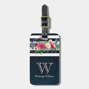 14d5f0e65511 Personalized Girly Floral Stripped Monogram Travel Luggage Tag