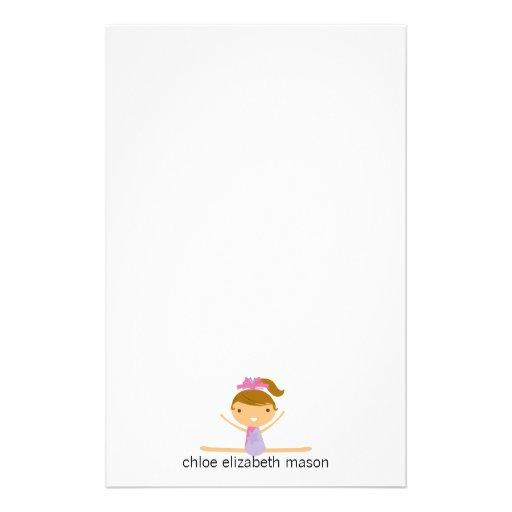 Personalized Girly Girl Gymnastics Stationery