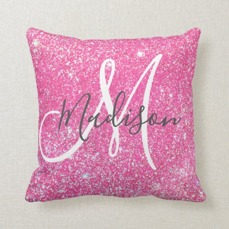 Personalized Girly Hot Pink Glitter Sparkle Name Throw Pillow