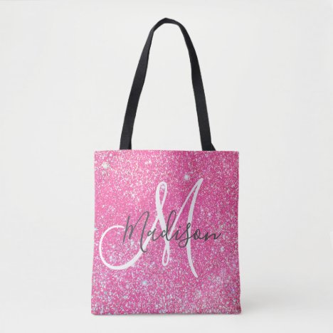 Personalized Girly Hot Pink Glitter Sparkle Name Tote Bag