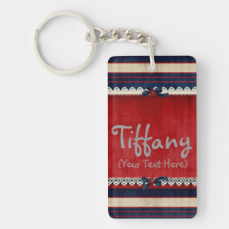 Personalized Girly Lace in Red Keychain