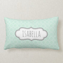 Personalized Girly Mint Green Monogram Pattern Lumbar Pillow