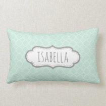 Personalized Girly Mint Green Monogram Pattern Lumbar Pillow