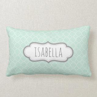 Personalized Girly Mint Green Monogram Pattern Lumbar Pillow at Zazzle