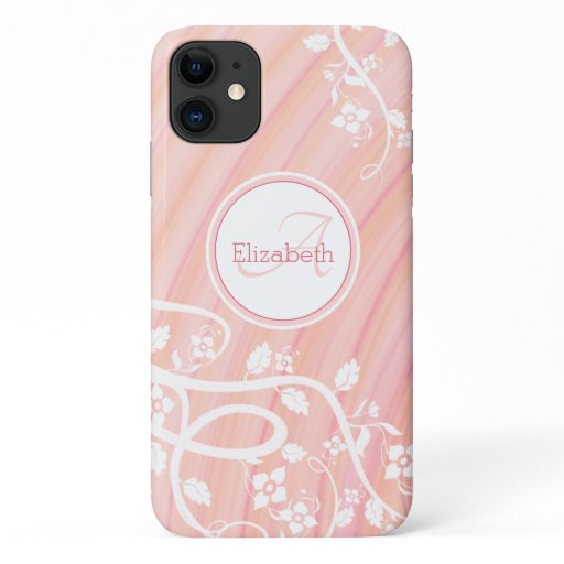 Personalized Girly Monogram Name Pink White Floral iPhone 11 Case