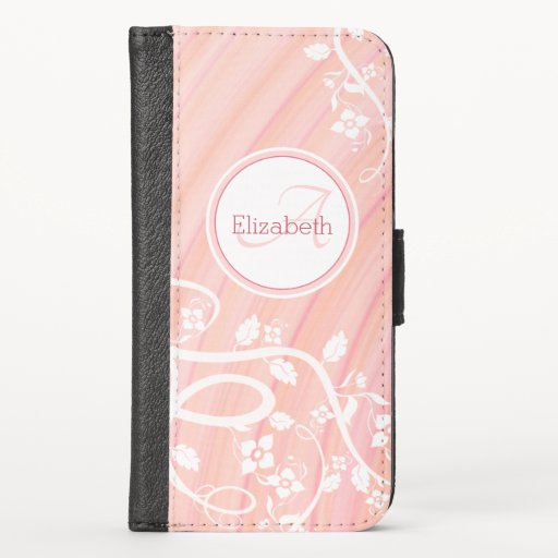 Personalized Girly Monogram Name Pink White Floral iPhone X Wallet Case