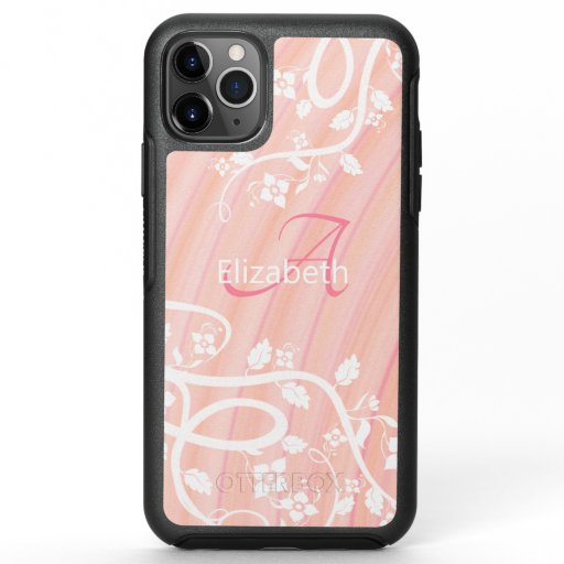 Personalized Girly Monogram Name Pink White Floral OtterBox Symmetry iPhone 11 Pro Max Case