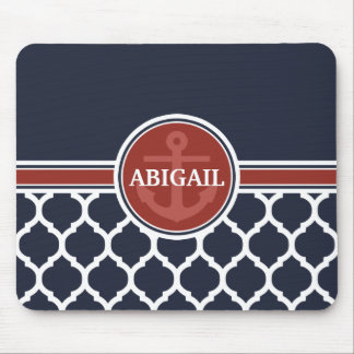 Personalized Girly Nautical Anchor Template Mouse Pad