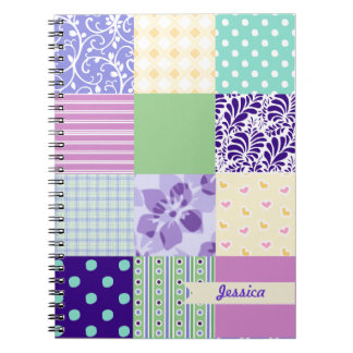 Personalized Girly Pattern Squares Vector Quilt Spiral Notebook