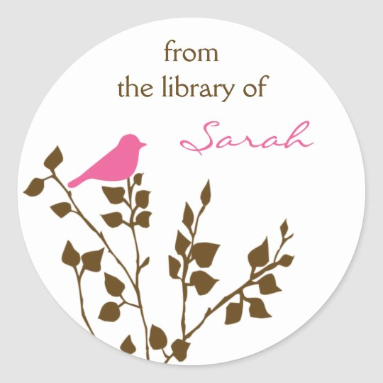 Personalized Girly Pink Brown Book Stickers